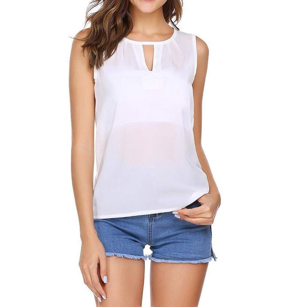 BB67 Women Tops, Sexy V-Neck Sleeveless Solid Print Hollow Out T-Shirt Blouse White