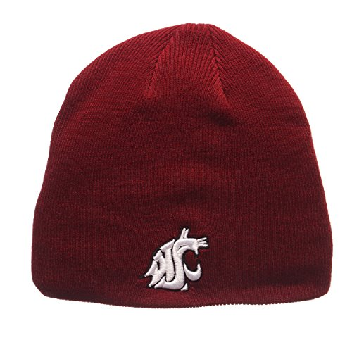 (ZHATS Washington State Cougars Cardinal Edge Skull Cap - NCAA Cuffless Winter Knit Beanie Toque Hat )
