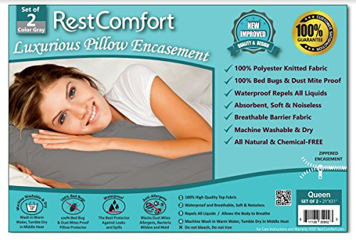 Set of 2 Bed Bug and Dust Mite Bacteria, Allergy Proof / Waterproof Pillow Protectors - Hypoallergenic Breathable and Quite - Zippered Pillow Encasement, RestComfort (Queen 21