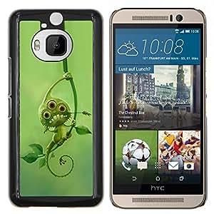 YiPhone /// Prima de resorte delgada de la cubierta del caso de Shell Armor - verde monstruo extranjero lindo deja mutante - HTC One M9Plus M9+ M9 Plus