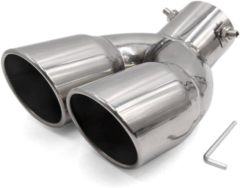 sourcing map 28mm-59mm Montaje Tubo Silenciador Curvado Cola de Escape Doble Acero Inoxidable para Coche