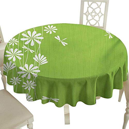 Dragonfly Petal - Tablecloth 54 Inch Dragonfly,Flower Petals Spring Motif Childish Growth Nature Seasonal Graphic Art,Lime Green White Great for Traveling & More