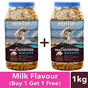 Meat Up Milk Flavour, Real Chicken Biscuit, Dog Treats – 500g Jar (Buy 1 Get 1 Free)