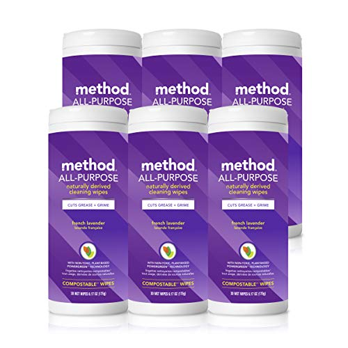 Cleaner Wipes (Method All-Purpose Cleaning Wipes, French Lavender, 6.1 Ounces, 6 Count)