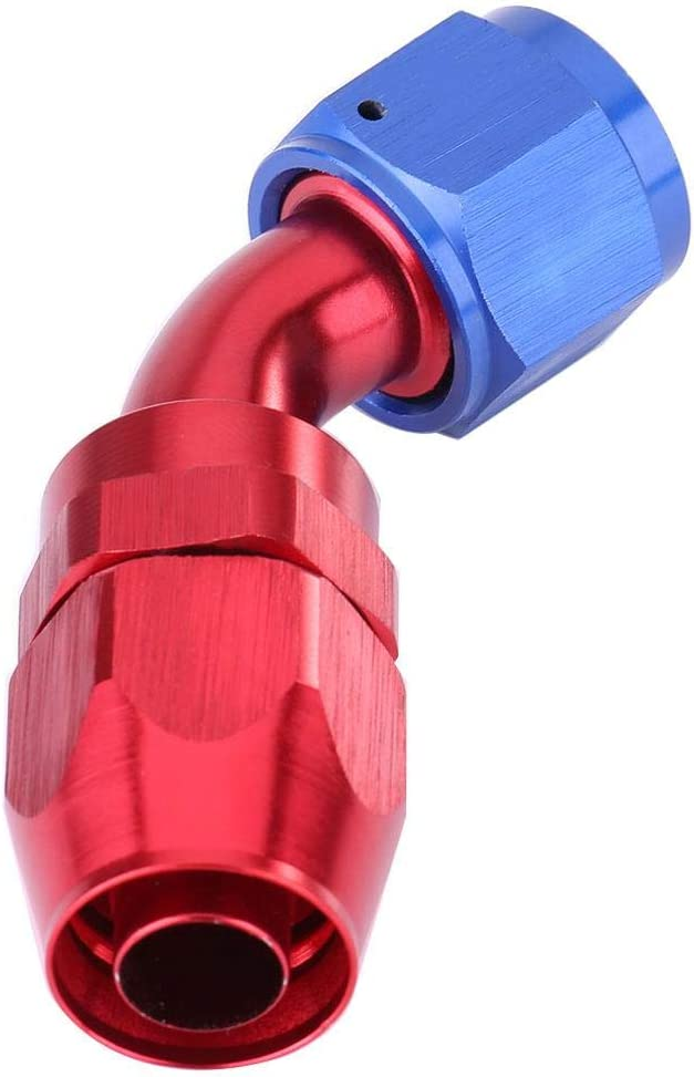 EBTOOLS Car Modification Hose End Fitting,AN10 Fuel Line Hose End Swivel Fitting Oil Cooler Adapter Anodized Blue and Red Color 45/°