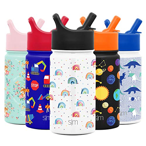 Simple Modern 14oz Summit Kids Water Bottle Thermos with Straw Lid - Dishwasher Safe Vacuum Insulated Double Wall Tumbler Travel Cup 18/8 Stainless Steel - Rainbow Dream