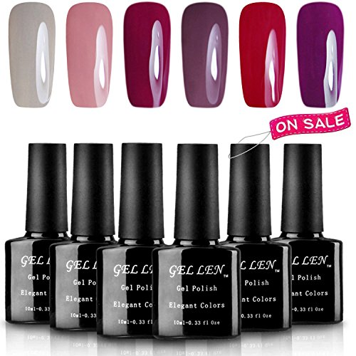 Gellen 6 Popular Colors UV Gel Nail Polish Kit, Soak Off Nai