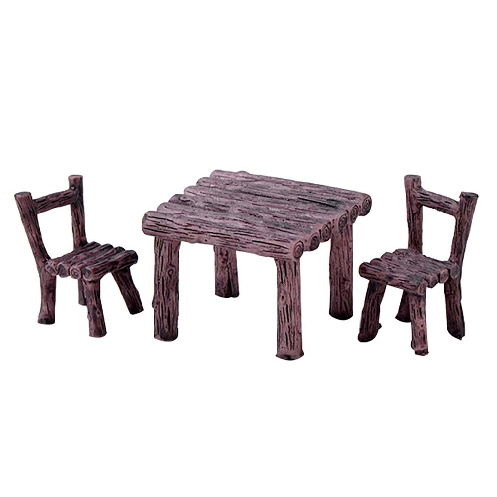Amazon.com: Floralby 3Pcs/Set Miniature Fairy Garden Table Chairs ...