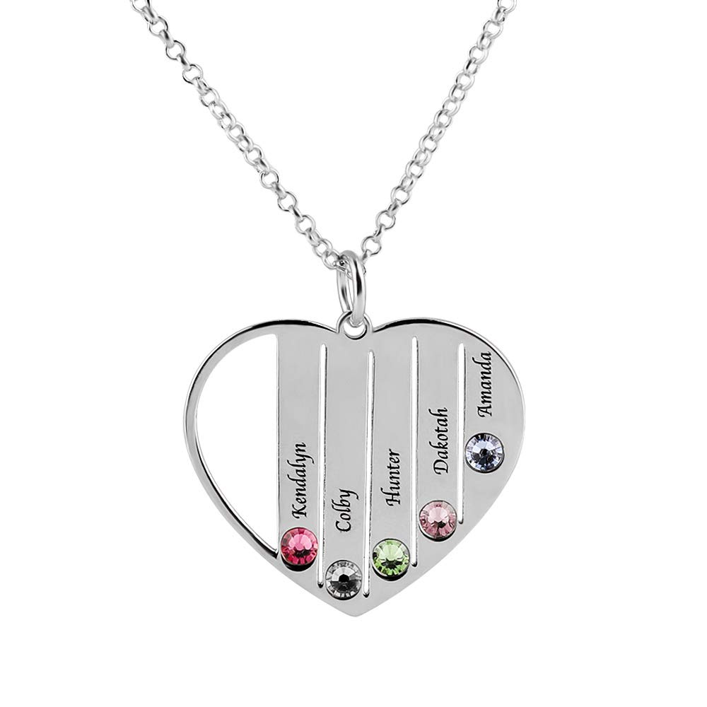 Poppyflyer Personalised Family Name Necklace Heart Pendant with Birthstone Fathers Day Jewelry Gift