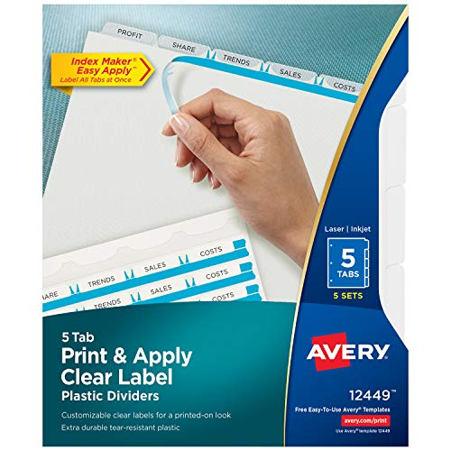 (Avery Index Maker Translucent Dividers with Clear Label, 5 Tabs, 5 Sets (12449) )