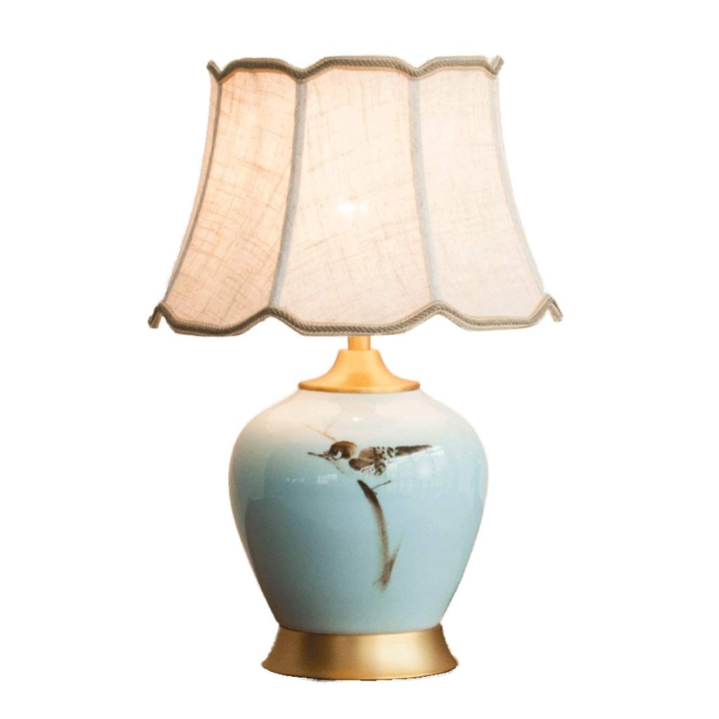 Weiyue Table lamp- Chinese Ceramic Table Lamp Living Room Bedroom Bedside Lamp Chinese Style Hand-Painted Decoration Retro Warm Copper Lamp (Color : A, Size : 51X35cm)