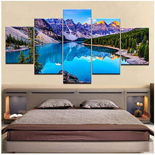 WSTDSM 5 pcs Poster Moraine Lake Banff National Park on Canvas Paintings Bedroom Modular Decor Painting Print on Canvas (no frame/30x40x2 30x60x2 30x80cmx1)