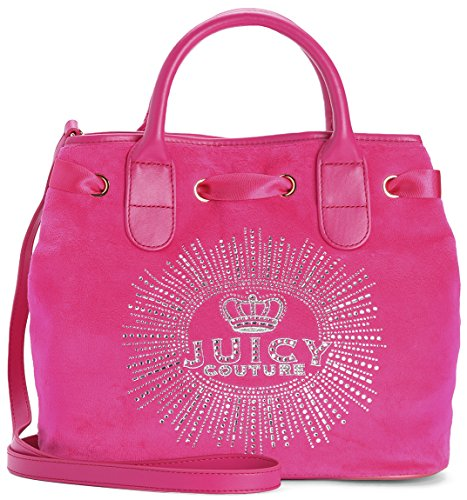 Juicy Couture Cherise Velour Crystal Embellished Surf Rider Satchel (Pink Juicy Couture Purse)