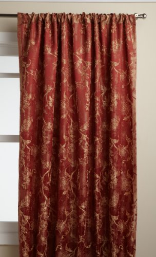 LORRAINE HOME FASHIONS Floral Lustre 52-inch x 84-inch Tailored Panel, Brick