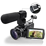 WiFI Camera Camcorder, Eamplest Remote Control Handy Camera Full HD 1080P 30FPS 24MP 16X Digital Zoom Video Camera Recorder with External Microphone, Wide Angle Lens, 2 Batteries (Camcorder-z20)