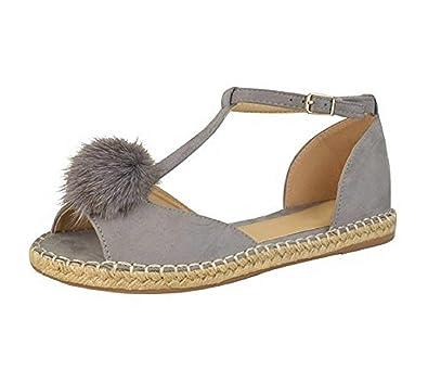 144ef7129ba Ladies Womens Flat Fur Pompom T-Bar Espadrilles Peeptoe Sandals Pumps Shoes  Size 5  Amazon.co.uk  Shoes   Bags
