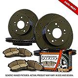 (F+R Full Kit)4 Heavy Duty Black Zinc Plated Drilled Rotors + 8 Ceramic Pad(5lug)-Combo Brake Kit