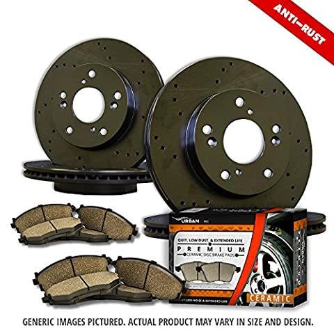 (Front Kit)2 Heavy Duty Black Zinc Plated Drilled Rotors + 4 Ceramic Pad(6lug)-Combo Brake Kit