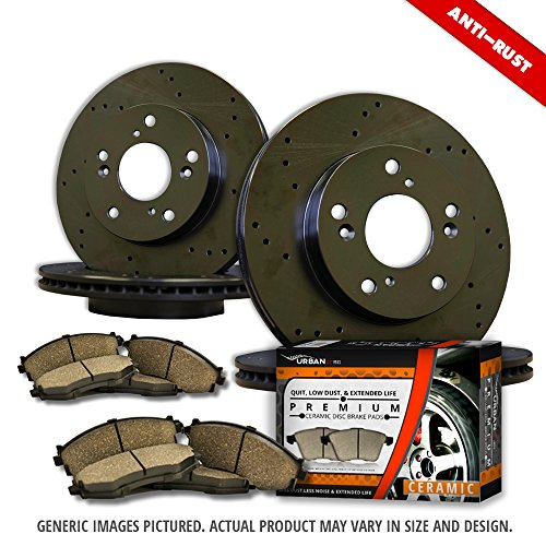 Plated Drilled ((F+R Full Kit)4 Heavy Duty Black Zinc Plated Drilled Rotors + 8 Ceramic Pad(5lug)-Combo Brake Kit)