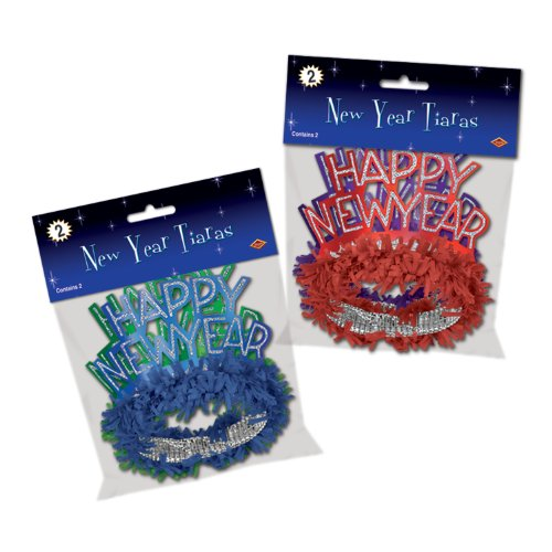 Beistle 88759 2-Pack Decorative Packaged Happy New Year Regal Tiaras for Parties