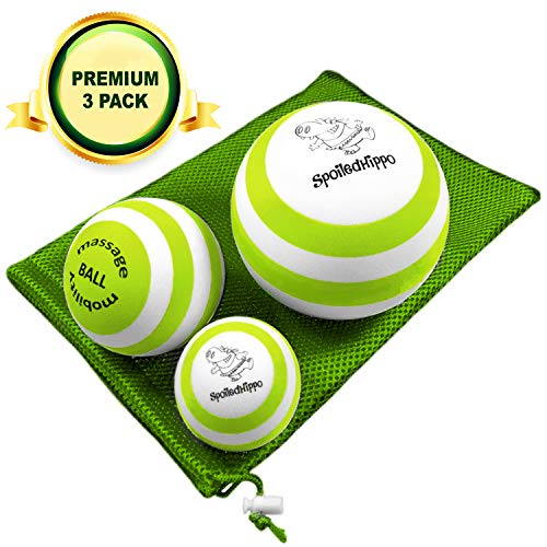 Massage Ball - 3 Set - Deep Tissue Massage Therapy, Myofascial Release, Trigger Point Massager - Muscle Pain Relief, Muscle Knots Foam Ball, Self Massage Physical Therapy Ball (GREEN/WHITE)