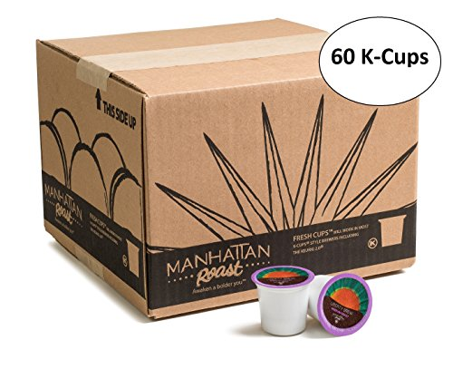 Manhattan Roast 'Liberty Brew' (House Blend / Medium Roast) Single-Serve Coffee Freshcup works in most Keurig K-Cup Brewers, 60 Count Box (Bulk K Cup Coffee)