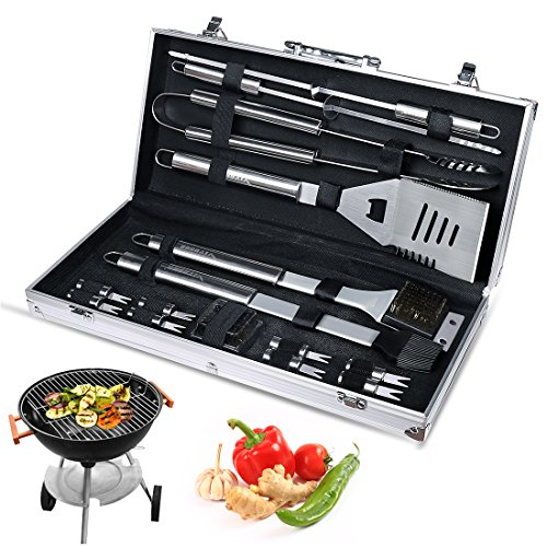 VIVOSUN BBQ Grill Utensils Stainless Steel Barbeque Grill Tools Set w 15 Frequently Used Accessories, Complete Outdoor Grilling Kit – Aluminum Case Packed