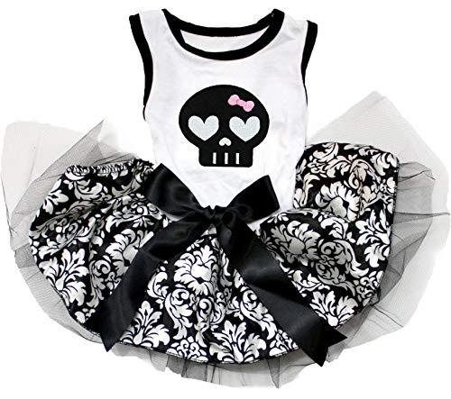 Petitebella Black Skull White Shirt Tutu Puppy Dog Dress (Small)