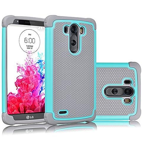LG G3 Case, Tekcoo(TM) [Tmajor Series] [Turquoise/Grey] Shock Absorbing Hybrid Rubber Plastic Impact Defender Rugged Slim Hard Case Cover Shell Skin For LG G3 AT&T T-mobile Sprint Verizon (Lg G3 Phone Casing)