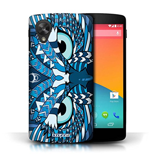 Etui / Coque pour LG Google Nexus 5/D821 / Hibou-Bleu conception / Collection de Motif Animaux Aztec