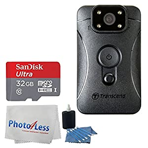 Transcend DrivePro Body 10 Body Camera + SanDisk Ultra 32GB UHS-I/Class 10 Micro SDHC Memory Card + Photo4Less Camera & Lens Cleaning Cloth + 3 Piece Cleaning Kit + Ultimate Accessory Bundle