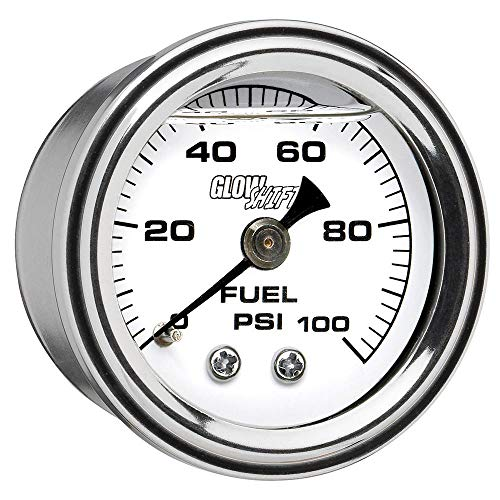 (GlowShift Liquid Filled Mechanical 100 PSI Fuel Pressure Gauge - White Dial - Waterproof - Installs Under The Hood - 1/8-27 NPT Thread - 1-1/2