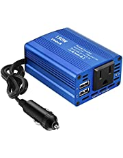YSOLX 150W Car Power Inverter DC 12V to 110V AC Converter with 3.1A Dual USB Car Charger Adapter Blue