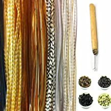 "New 21pc Kit 7""-11"" Feather Hair Extension Kit 10 Long Browns & Grizzly Genuine Single Feathers + 10 Micro Beads & Hook Tool (Colors Will Be Chosen Randomly)"