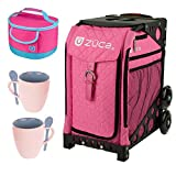 Zuca Sport Wheeled Complete Luggage Set With Frame Black and Insert Bag Hot Pink With Rhinestones