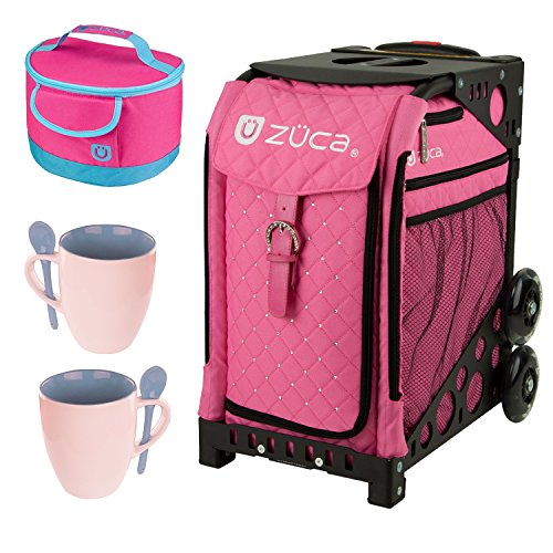 Zuca Sport Wheeled Complete Luggage Set With Frame Black and Insert Bag Hot Pink With Rhinestones by ZUCA