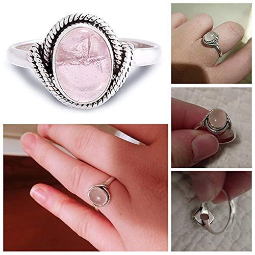bromrefulgenc Ring for Women,Women Vintage Oval Artificial Rose Quartz Ring Wedding Engagement Finger Jewelry - White US 8
