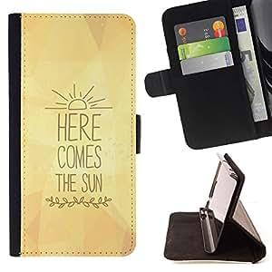 BullDog Case - FOR/Samsung Galaxy Note 3 III / - / here comes the sun yellow lyrics text /- Monedero de cuero de la PU Llevar cubierta de la caja con el ID Credit Card Slots Flip funda de cuer