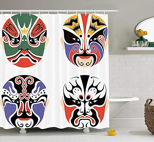 Afagahahs Kabuki Mask Shower Curtain Traditional Chinese Cultural Opera Mask Set Collection Asian Tribal Art Theme Fabric Bathroom Decor Set with Hooks Wide
