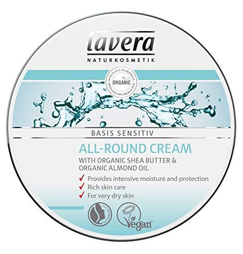 - lavera basis-sensitiv All-Round Cream: Moisturizing Body Cream with Organic Aloe Vera and Vitamin E to protect dry Skin & for a soft and supple feeling – 5 Oz