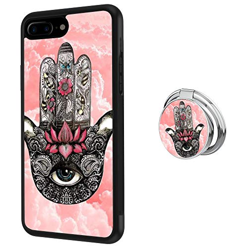 Hynina Phone Case and Phone Ring Buckle Compatible for iPhone 7 Plus 8 Plus - Hamsa Hand (Evil Buckle)