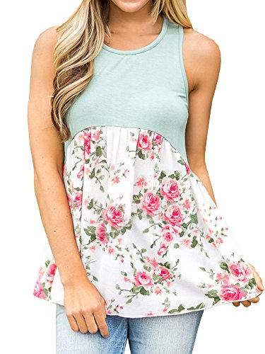 Beautife Women Casual Sleeveless Floral Print Color Block Tunic Peplum Babydoll Tops - Floral Shirred Tunic Top