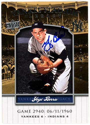 Yogi Berra Autographed 2008 Upper Deck Yankee Stadium Legacy Card #2940 New York Yankees Steiner SKU #126152