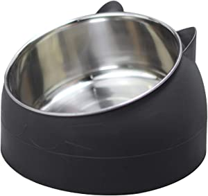 Sorlakar Stainless Steel Cat Bowls,15°Tilted Cat Dog Bowl Removable Water Food Feeder Bowl,Non-Skid & Non-Spill for Small Medium Large Cats Dogs