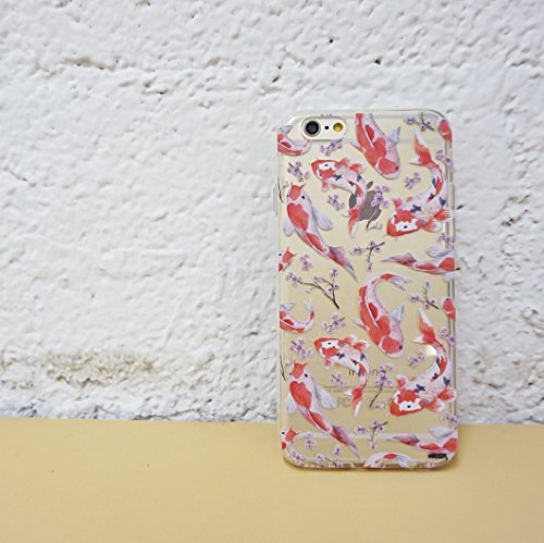 Clear Plastic Case Cover for Apple iPhone 5/5S - WATERCOLOR KOI FISH asian colorful tattoo ocean