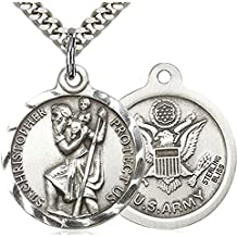 Heartland Men's Round Sterling Silver St. Christopher Army Medal + Best Quality USA Made
