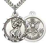 Men's Round Sterling Silver St. Christopher Army Medal + 24 2.2mm Inch Sterling Silver Chain & Clasp