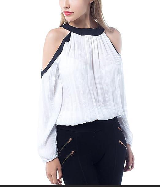 Mujer Tops Blusa Manga Larga Primavera Verano Elegantes Gasa Camisas Blancos Hombros Descubiertos Cuello Halter Moda
