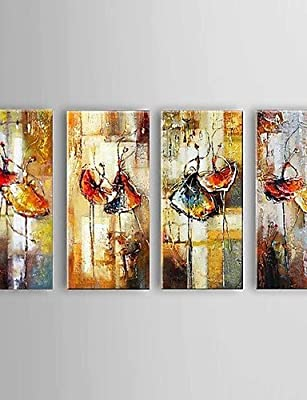 FMY Large Size Hand-Painted Ballet Dancer Canvas Painting Art Oil Painting on Canvas 4pcs/set With Frame Ready To Hang , with stretched frame