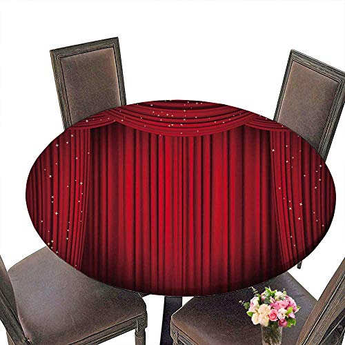 "PINAFORE Round Table Tablecloth Open red with Glitter Opera or Theater for Wedding Restaurant Party 43.5""-47.5"" Round (Elastic Edge)"